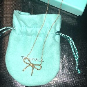 Authentic 18K T&Co Bow Necklace